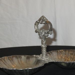 50's Thick Metal Scalloped Double Sea Shell Server